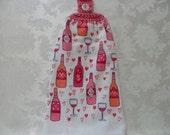 Hanging Double Kitchen Towel Wine Valentine's Day Towel  Wine Lover's Hanging Towel Crochet Hanging Kitchen Towel