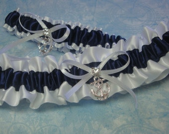 White and Navy Blue Satin Garter Set with Anchor