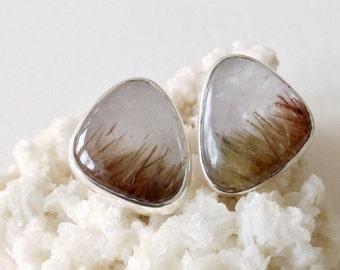 Rutilated Quartz Silver Post Earrings  Handmade Gift  ready to ship