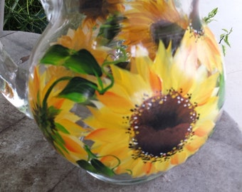 Hand painted glass pitcher in sunflower design, sunflower pitcher, hand painted glass pitcher