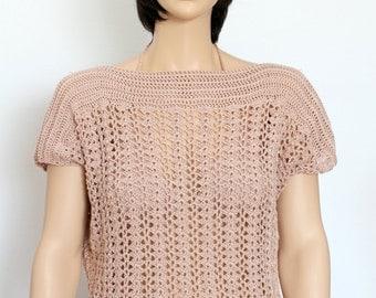 Crocheted shirt Beige  top Crochet halter top Hippie halter top crochet tank