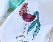 Redhead Mermaid In Wine Dish Towels Flour Sack Dish Cloth