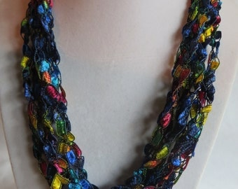 """33"""" Crocheted Necklace Scarf - Color Rainbow, necklace, scarf, crocheted"""