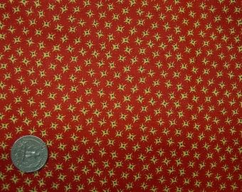 "Excellent Vintage Cotton Fabric Bright Red Small Print, 36"" Wide, By The Yard"