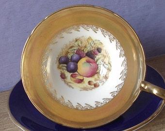 Vintage 1950's Aynsley D. Jones fruit tea cup and saucer, Gold teacup, Blue tea cup, English tea cup, Bone china teacup, Mother's Day gift