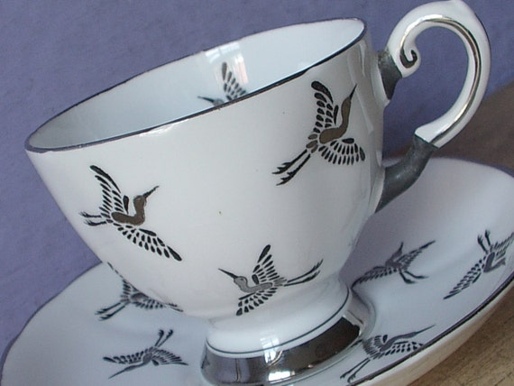 Silver Wedding Anniversary Gifts For Wife : Unique Vintage 25th Anniversary Gift for Wife, Tuscan Silver tea cup ...
