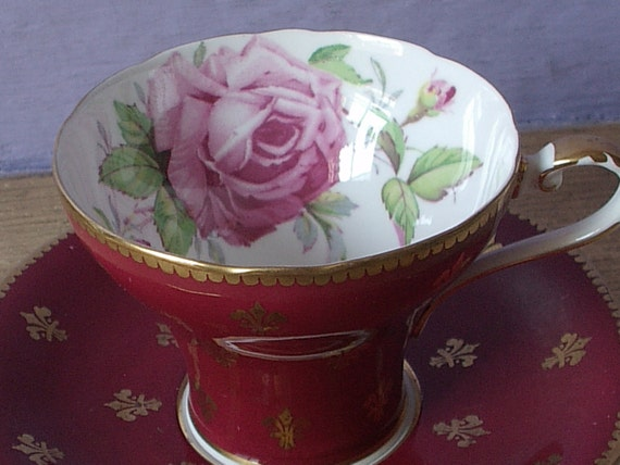 Antique Aynsley pink rose tea cup and saucer set, red tea cup, gold fleur de lis English tea cup, red and gold bone china tea cup
