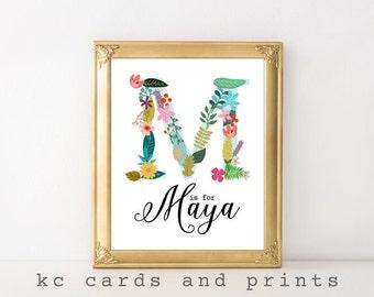 Maya Nursery Print - M Monogram Nursery Printable - Custom Name Art - Baby Name - Nursery Decor - Printable Nursery Art