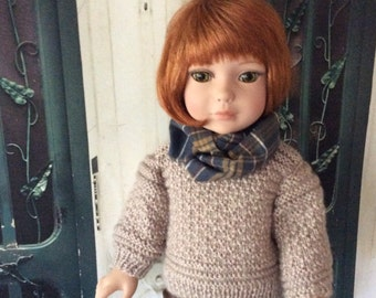 Custom Couture 18 Inch Doll Clothing-Hand-knitted Sweater, Faux Leather Slacks, Flannel Scarf Will Fit Dolls Like Robert Tonner OOAK