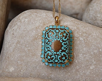 Ceramic Necklace, Oriental Necklace, Turquoise Ornamented Necklace, Turquoise and Brown Pendant Necklace, Ethnic Pattern Necklace for Her