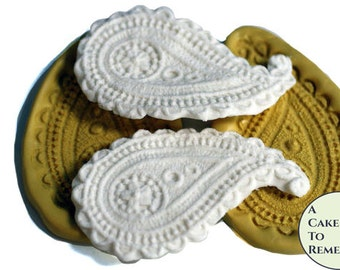 Set of two paisley silicone molds for cake decorating. Cake supplies and cake molds. Silicone mould for cakes. M079