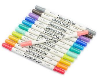 KaiserColour Gel Pens -  12 Tim Holtz Distress Marker Tube Set #2 - 12 Assorted Colors - Dual Tip - Includes Plastic Case (266903)