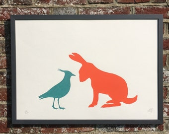 Lapwing and Hare Fine Art Screen Print-framed FREE UK SHIPPING