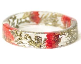 Bracelet -Flower Jewelry- Real Flower Jewelry- Jewelry Made with Real Flowers- Red Flowers- Gold  Bracelet-Resin Jewelry-Red Bracelet