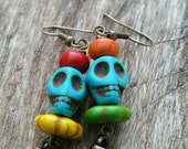 Day of the Dead Earrings with Turquoise Magnesite Skulls and other Colorful Beads with Brass Spike Dangle by AfterWork