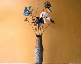 Metal Flower, Faucet Flower Art, Miller Lite, Porch Decor, Office Art, Lobby Decor, Table Centerpiece, Patio Flower, Vase filler, Junk Art