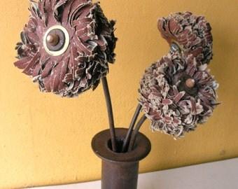Table Vase, flower centerpiece, set of 3 flowers, junk flowers, flower bouquet, get well gift, office art, desk art, shelf art, cafe decor