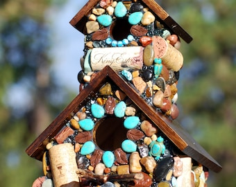 Mosaic Turquoise Birdhouse with wine corks and turtles garden decore  bird lover red wine corks eco friendly bird house mosaic natural stone
