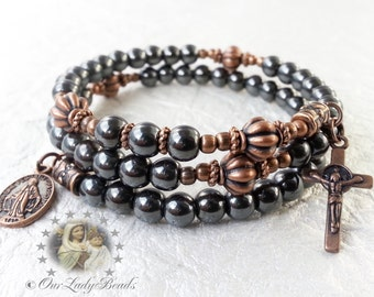 Men's Rosary Wrap Bracelet,Rosary for Dad,Catholic Jewelry,Religious Gifts,Father's Day Gift,Rosary for the Groom,Godfather,Rosaries,#119-25