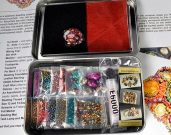 "One-of-a-Kind ""Sea Garden"" Free-Form Bead Embroidery Brooch Kit #5Fuchsia Jewel Tones"