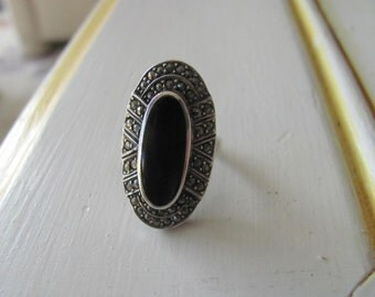 Art Deco Ring Marcasite Sterling Onyx Vintage Size 5.5 Art Deco Jewelry Ladies