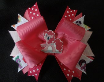 My Little Pony inspired bow, pinkie pie 5 inch hairbow