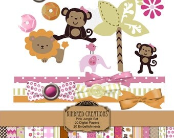 Pink Jungle Animal Digital Papers 12x12 And Clipart! It's a Girl baby Shower, Cute Jungle, Birthday Party Instant Download