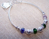 Mother's Bracelet, Birthstone Bracelet, Handmade with handstamped disc