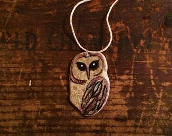 Pottery Shard Owl Pendant
