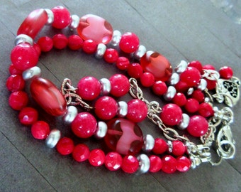 Red Glass Beads Multi Strand Heart Charm Bracelet, FREE US SHIPPING, Red Multistrand Bracelet, Red Jewelry