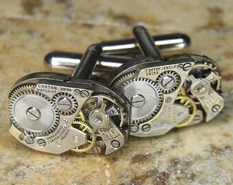 STEAMPUNK Cufflinks Cuff Links - Torch SOLDERED - Vintage Rectangular Watch Movements w Amazing Bridge Design - Birthday Anniversary