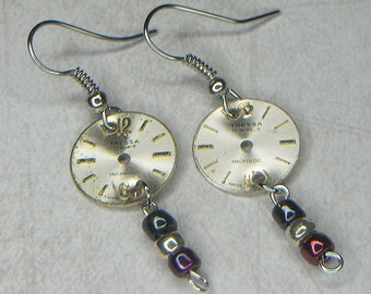 STEAMPUNK Earrings - Circular TRESSA Watch Movement Face Earrings w Deep Blue, Silver & Wine Colored Beads - French Flag Colors