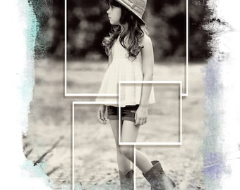 Custom Photo Collage Printed on Watercolor Paper Personalized Your Photo, Choose Size, Color, Black and White, Sepia, Vintage #1012