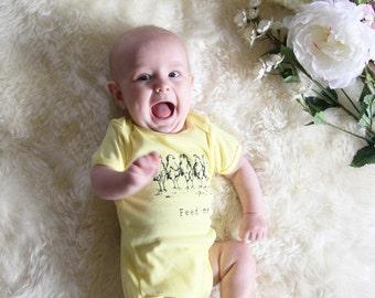 Feed Me Chickens - Funny Screen Print Baby Onesie Bodysuit