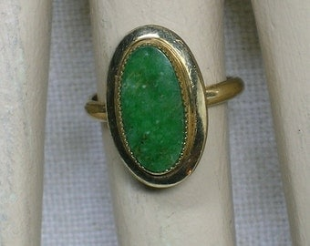 Vintage Ring: BC Jade, Canada Nephrite, Green Stone & Gold Fill, 1970s. Size 4, 5, 6 (adjustable)