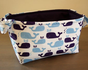Fabric Basket w/ Whale Motif/ Whale Gift Basket/ Navy and Blue Whale Design/ Baby Whale Theme
