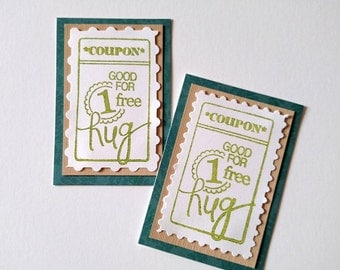 Hug Coupons - Set of 2 Handmade Paper Coupons to Include in Greeting Cards, Gifts - Sympathy, Thinking of You, Birthday, Friendship