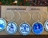 Set of UNIQUE Duke Girl Blue Devils inspired wine glass charms for the wine lover in your life....