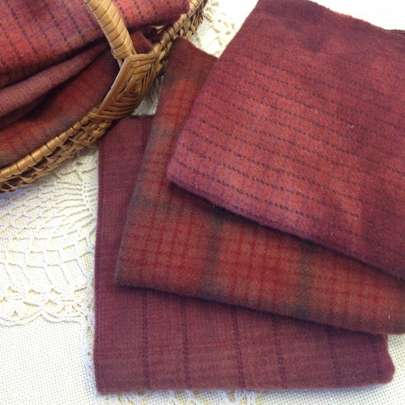 Old Barn Reds, Hand Dyed Wool Fabric for Rug Hooking and Applique, 3) 1/16ths,  W145, Dark Red, Rust Red, Purple Brown; LAST ONE!