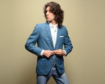 mens vintage sport coat 60s blue plaid sport jacket skinny lapel 1960 trad sport coat 39-40S short slimfit slim Botany 500