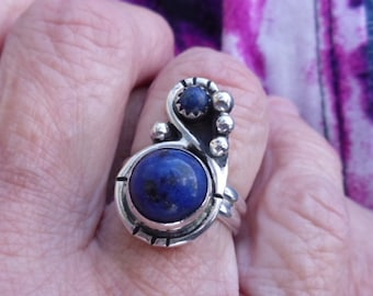 R31--Lapis Ring size 6.5--FREE SIZING---- Sterling Silver Vintage Style