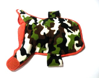 X Small Dog Coat-Reversible Reflective- 2017 Summer Trends Gifts for Dogs Orange Camo- Water Bottle Holder