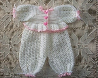 0-3 month Crochet White with Pink Trim Bodysuit and matching Sweater