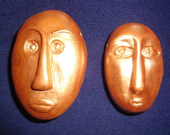Set of 2 Primitive African Face Bead/Pendants of Burnished Gold Polymer clay