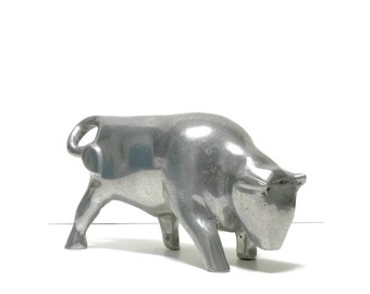 Vintage Pewter Mid Century Modernist Bull Market Sculpture, Stockbroker
