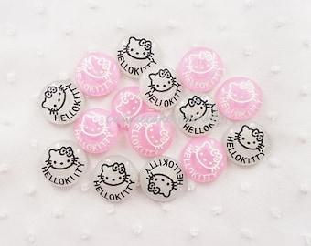 4pcs - Glittery Circle Kitty Logo Decoden Mix (24mm) HK10012