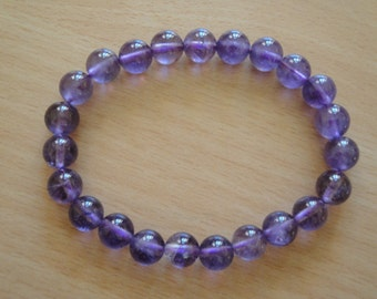 Genuine 8 mm Amethyst Gemstone Stretchy Bracelet