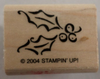 Stampin Up Holly Berries And Leaf Berry Wooden Rubber Stamp