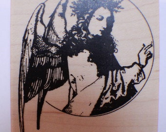 Stampington And Co Wooden Rubber Stamp Angelic Heavenly Angel Circle