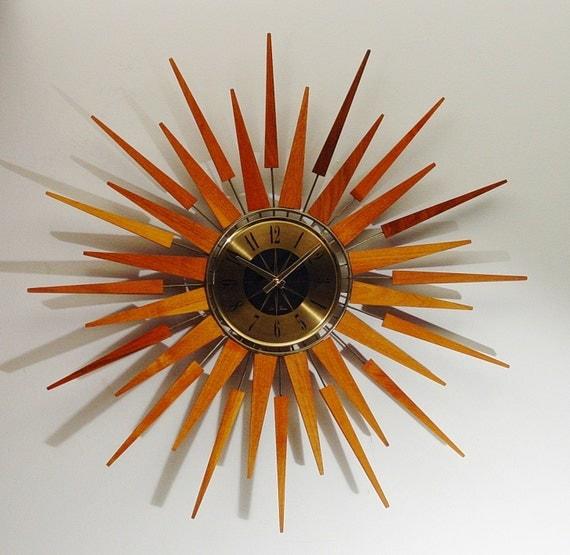 Starburst Wall Clock by Seth Thomas, Mid-Century Modern Sun Burst design.